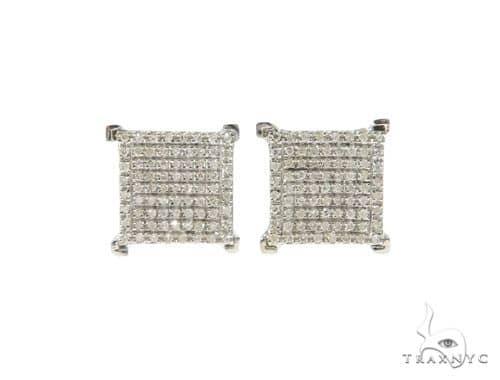 Square Diamond Silver Earrings 57691 Metal