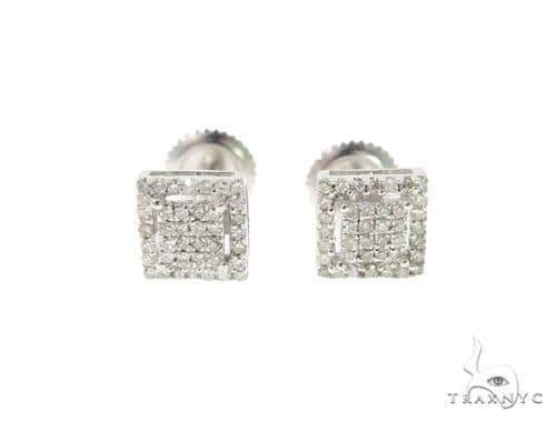 Halo Square Diamond Silver Earrings 57692 Metal