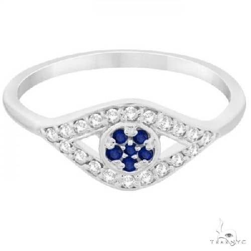 Evil Eye Diamond and Blue Sapphire Ring in 14k White Gold Anniversary/Fashion