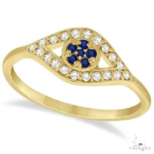 Evil Eye Diamond and Blue Sapphire Ring in 14k Yellow Gold Anniversary/Fashion