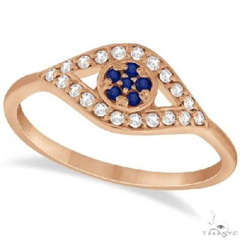 Evil Eye Diamond and Blue Sapphire Ring in 14k Rose Gold Anniversary/Fashion