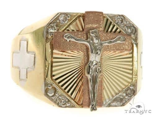10K Gold Crucifix Crossion Ring 58450 Metal