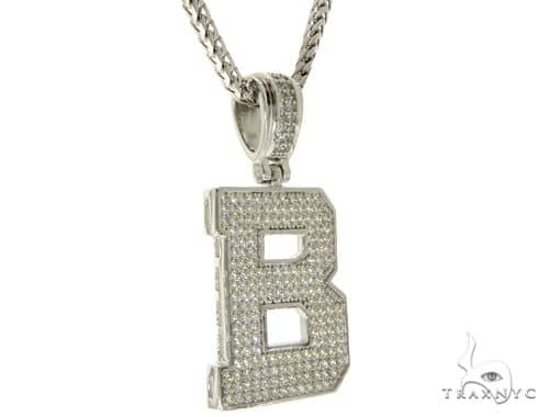 CZ Silver Initial(B) Pendant 24 Inches Franco Chain Set 58470 Metal