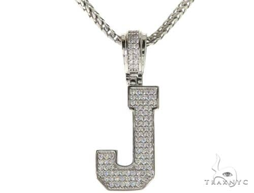 CZ Silver Initial(J) Pendant 24 Inches Franco Chain Set 58478 Metal