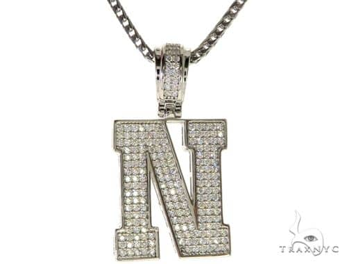CZ Silver Initial(N) Pendant 24 Inches Franco Chain Set 58482 Metal