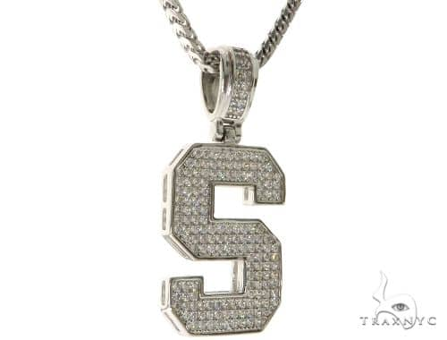 CZ Silver Initial(S) Pendant 24 Inches Franco Chain Set 58487 Metal