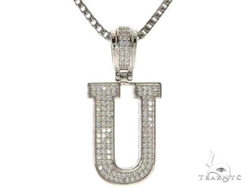 CZ Silver Initial(U) Pendant 24 Inches Franco Chain Set 58489 Metal