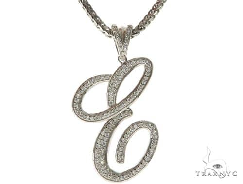 CZ Silver Initial(E) Pendant 30 Inches Franco Chain Set 58501 Metal