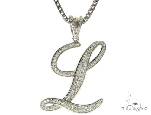 CZ Silver Initial(L) Pendant 30 Inches Franco Chain Set 58508 Metal