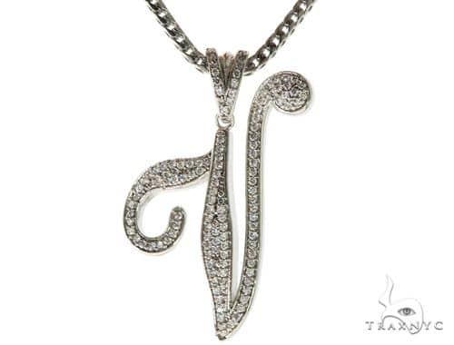 CZ Silver Initial(V) Pendant 30 Inches Franco Chain Set 58518 Metal