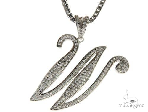 CZ Silver Initial(W) Pendant 30 Inches Franco Chain Set 58519 Metal