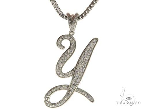 CZ Silver Initial(Y) Pendant 30 Inches Franco Chain Set 58521 Metal