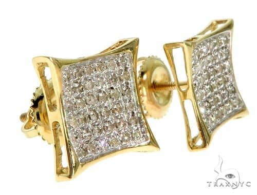 10K YG Micro-Pave Diamond Kite Shape Earrings Stone