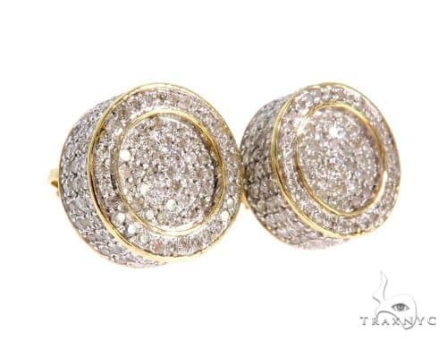 10K YG Micro Pave Diamond Round Single Earring Stone