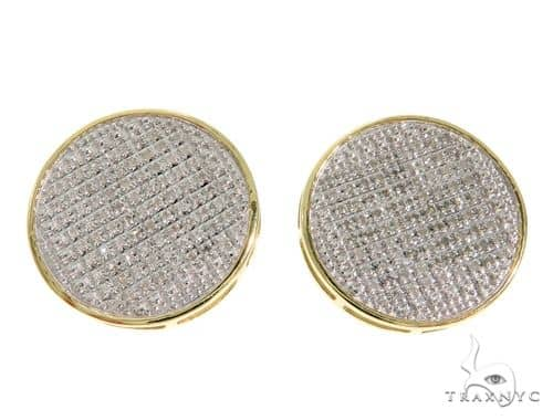10K YG Micro Pave Diamond Round Flat Earrings Stone