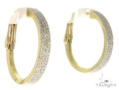 10K YG Micro Pave Diamond Hoop Earrings 58581 10k, 14k, 18k Gold Earrings