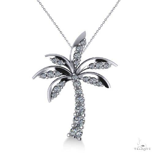 Diamond Tropical Palm Tree Pendant Necklace 14k White Gold Stone