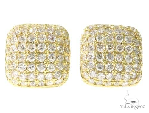 18K Gold Diamond Pillow Earrings 58586 Stone