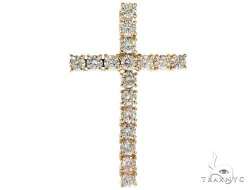 14K YG Prong Diamond Latin Cross Crucifix 58641 Diamond