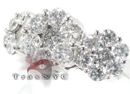 White Gold 3 Row Flower Ring 5446 Engagement