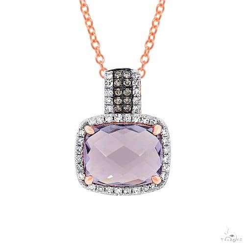 0.23ct White and Champagne Diamond and 3.08ct Amethyst Rose Gold Pendant Necklace Diamond
