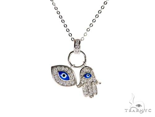 .925 Sterling Silver Hamsa Hand Evil Eye Charm 18' - 20' inches Re-sizable Cable Link Chain Set 61367 Metal