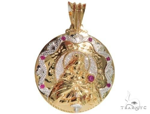 14K Two Tone Gold Round Cut Pave Diamond Santa Barbara Pendant 61404 Metal