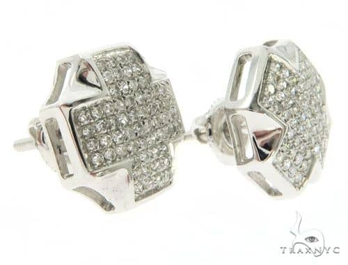 10K White Gold Micro Pave Stud Earrings 61423 Stone