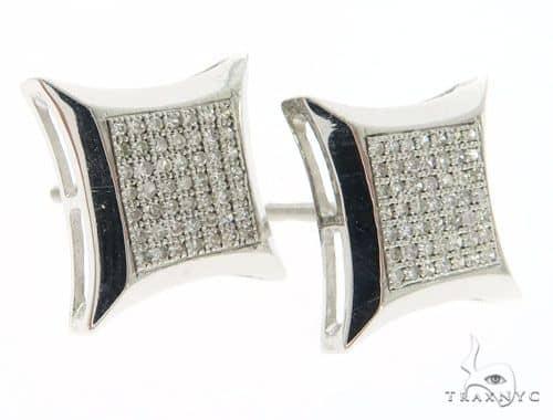 14K White Gold Micro Pave Diamond Kite Earrings 61428 Stone