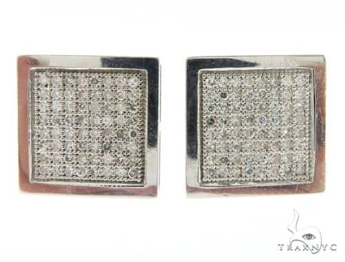 14K White Gold Square Micro Pave Diamond Earrings 61431 Stone