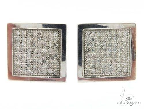 14K White Gold Square Micro Pave Diamond Earrings 61431 Stone