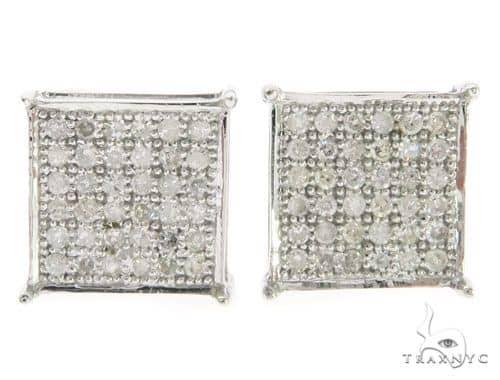 10K White Gold Micro Pave Diamond Earring  61434 Stone