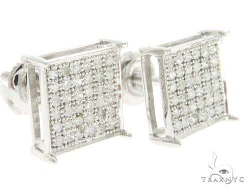 10K White Gold Micro Pave Diamond Earring  61434 Stone