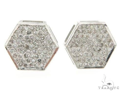 14K White Gold Micro Pave Diamond Earrings 61435 Stone