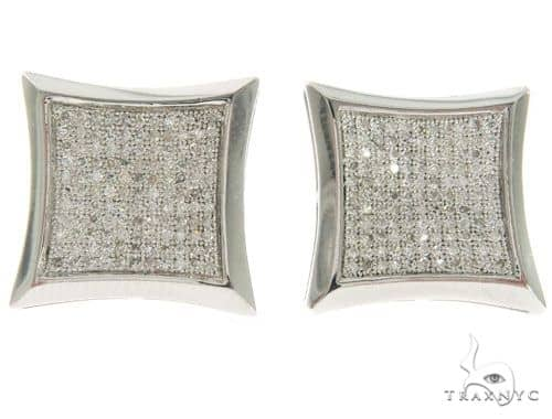 10K White Gold Kite Micro Pave Diamond Stud Earrings 61440 Stone