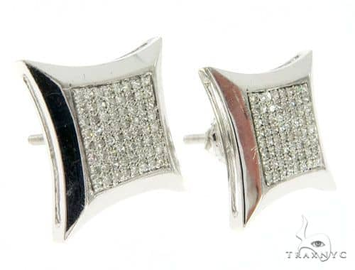 14k White Gold Kite Micro Pave Diamond Earrings 61427 Stone