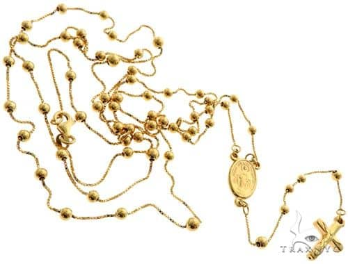14K Yellow Gold Rosary Chain 36 Inches 1mm 10.3 Grams 61495 Gold