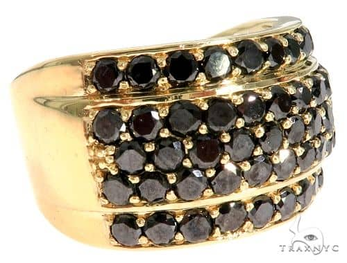 14K Yellow Gold Black Diamond Band Stone