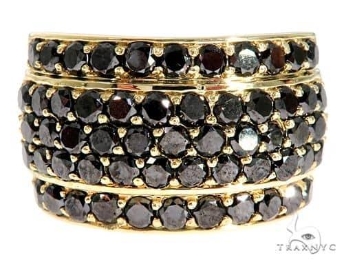 14K Yellow Gold Black Diamond Band Stone
