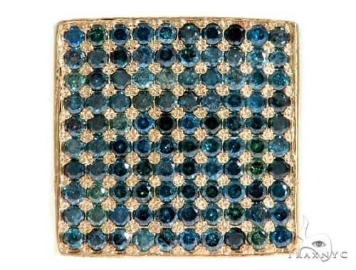 14K Yellow Gold Blue Diamond Square Ring 61503 Stone