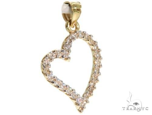10K Yellow Gold CZ Heart Charm Pendant 61505 Metal