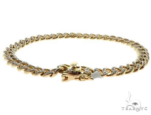 Mini 14K Yellow Gold Pave Diamond Cuban Link Bracelet 61576 Diamond
