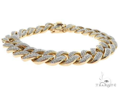 14K Yellow Gold Pave Diamond Cuban Link Bracelet 61578 Diamond