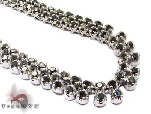 2 Row Black Diamond Chain 35 Inches 7mm 73.0 Grams 61584 Diamond