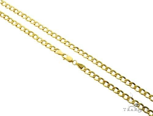 10K Yellow Gold Hollow Cuban Curb Link Chain 22 Inches 4.2mm 5.4 Grams 61602 Gold