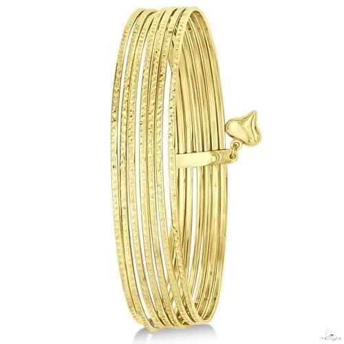 Diamond-Cut Slip-On Seven Bangle Bracelets 14k Yellow Gold Gold