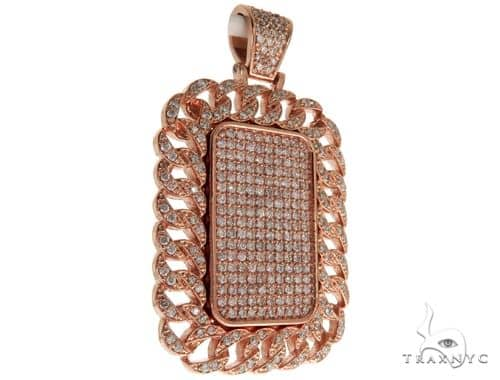 14K Rose Gold Miami Cuban Dog Tag Charm Pendant 61653 Metal