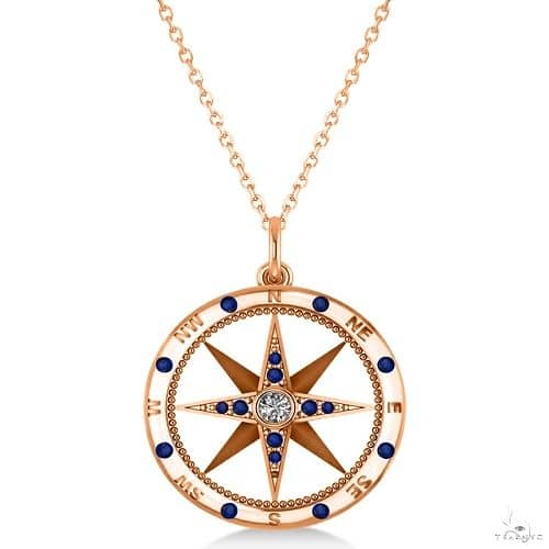 Compass Pendant Blue Sapphire and Diamond Accented 14k Rose Gold Stone