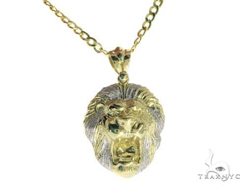 Lion Pendant and 24 Inches Hollow Cuban Chain Set 61684 Style