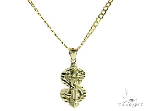 Dollar Sign Pendant and 22 Inches Hollow Cuban Chain Set 61712 Style